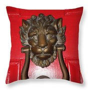 Lion Head Door Knocker Throw Pillow