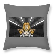 Lion On Motorcycle Throw Pillow
