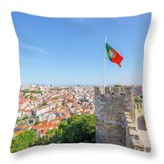 Lisbon Castle Flag Throw Pillow
