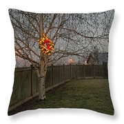 Lit Christmas Wreath Hanging In Tree Throw Pillow