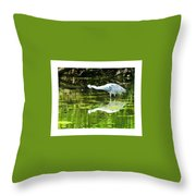 Little Blue Heron Fishing Throw Pillow