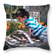 Little Boy And Flowers Throw Pillow
