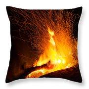 Log Campfire Burning At Night Throw Pillow