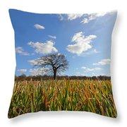 Lone Oak Tree In Wheat Field Throw Pillow