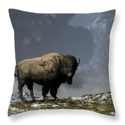 Lonely Bison Throw Pillow by Daniel Eskridge