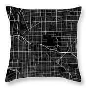 Long Beach California Usa Dark Map Throw Pillow