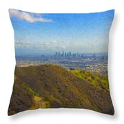 Los Angeles Ca Skyline Runyon Canyon Hiking Trail Throw Pillow