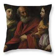 Lot And His Daughters Leaving Sodom Throw Pillow