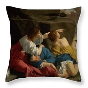 Lot And His Daughters Throw Pillow