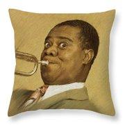 Louis Armstrong, Music Legend Throw Pillow