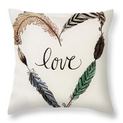 Feathers Of Love Throw Pillow
