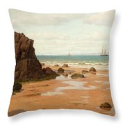 Low Tide At The Ris Beach Throw Pillow