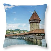 Lucerne Chapel Bridge And Water Tower - Panoramic Throw Pillow