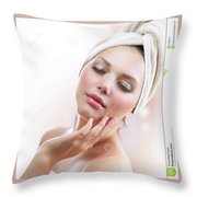 Lutrevia Cream Throw Pillow
