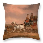 Mail Coaches On The Road Throw Pillow