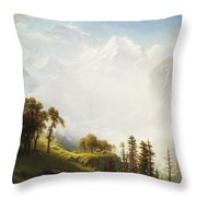Majesty Of The Mountains Throw Pillow by Albert Bierstadt