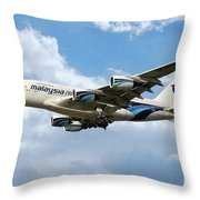 Malaysia Airlines Airbus A380 Throw Pillow