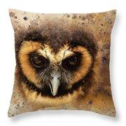 Malaysian Brown Wood Owl Throw Pillow