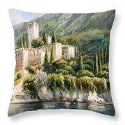Malcesine Castle, Lago Di Garda Throw Pillow