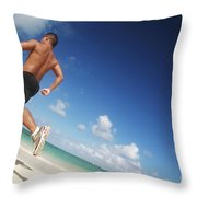 Male Beach Runner Throw Pillow by Brandon Tabiolo - Printscapes