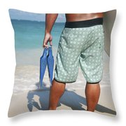 Male Bodyboarder Throw Pillow