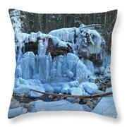 Maligne Canyon Frozen Throw Pillow