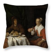 Man And Woman At A Meal Throw Pillow