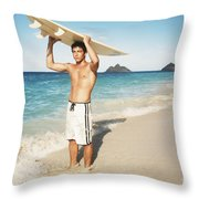 Man At The Beach With Surfboard Throw Pillow