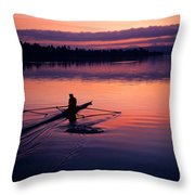 Man Rowing On Montlake Cut Throw Pillow