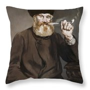 Man Smoking A Pipe Throw Pillow