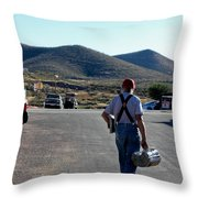 Man Walking With Newspapers Throw Pillow