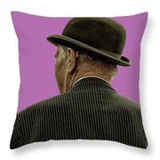 Man With A Bowler Hat Throw Pillow