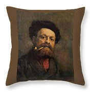 Man With A Pipe Throw Pillow