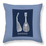Mandolin Blue Musical Instrument Throw Pillow