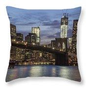 Manhattan Skyline New York Throw Pillow