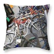Many Bikes Throw Pillow