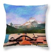 Many Glacier Hotel Panorama Throw Pillow