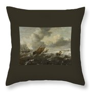 Maritime Scene With Stormy Seas Throw Pillow