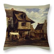 Market-place In Normandy Throw Pillow