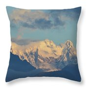Massive Snow Caped Mountains In The Countryside Of Italy  Throw Pillow