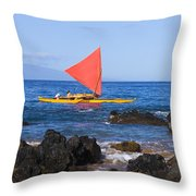 Maui Sailing Canoe Throw Pillow