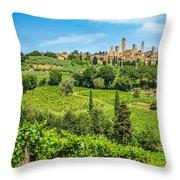 Medieval Town Of San Gimignano, Tuscany, Italy Throw Pillow