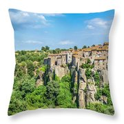 Medieval Town Of Vitorchiano In Lazio, Italy Throw Pillow