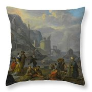 Mediterranean Port With An Elegant Couple Throw Pillow
