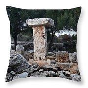 Megalithic Taula In Binisafua Menorca Bronze Age Throw Pillow