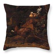 Melchior De Hondecoeter In The Manner Of The Artist, Wild Birds In A Park Landscape. Throw Pillow
