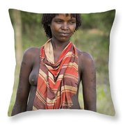 member of the Bena Tribe, Omo Valley Throw Pillow