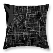 Memphis Tennessee Usa Dark Map Throw Pillow