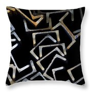 Metal Profile Channel In Packs At The Warehouse Of Metal Products Throw Pillow