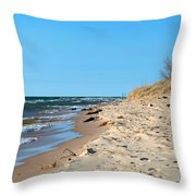Michigan Beach Throw Pillow